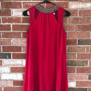 Dresses & Skirts - Red Shift Dress with Beaded Collar